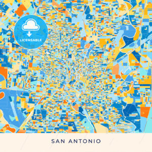 San Antonio colorful map poster template - HEBSTREITS