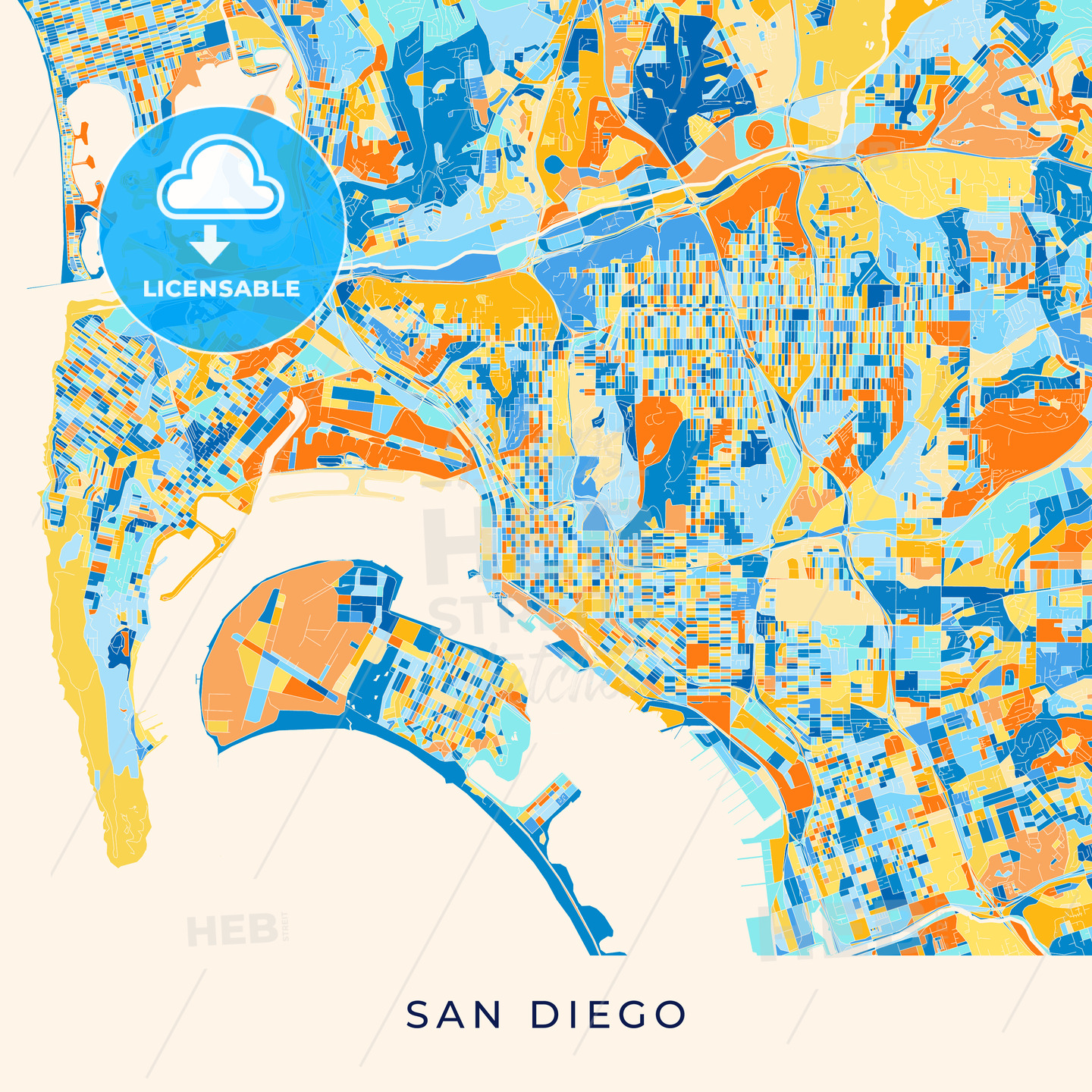 San Diego colorful map poster template