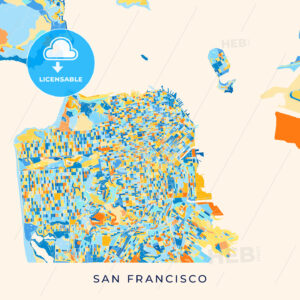 San Francisco colorful map poster template - HEBSTREITS