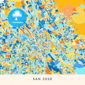 San Jose colorful map poster template - HEBSTREITS
