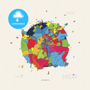 San Marino San Marino colorful confetti map - HEBSTREITS