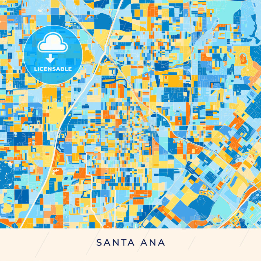 Santa Ana colorful map poster template - HEBSTREITS
