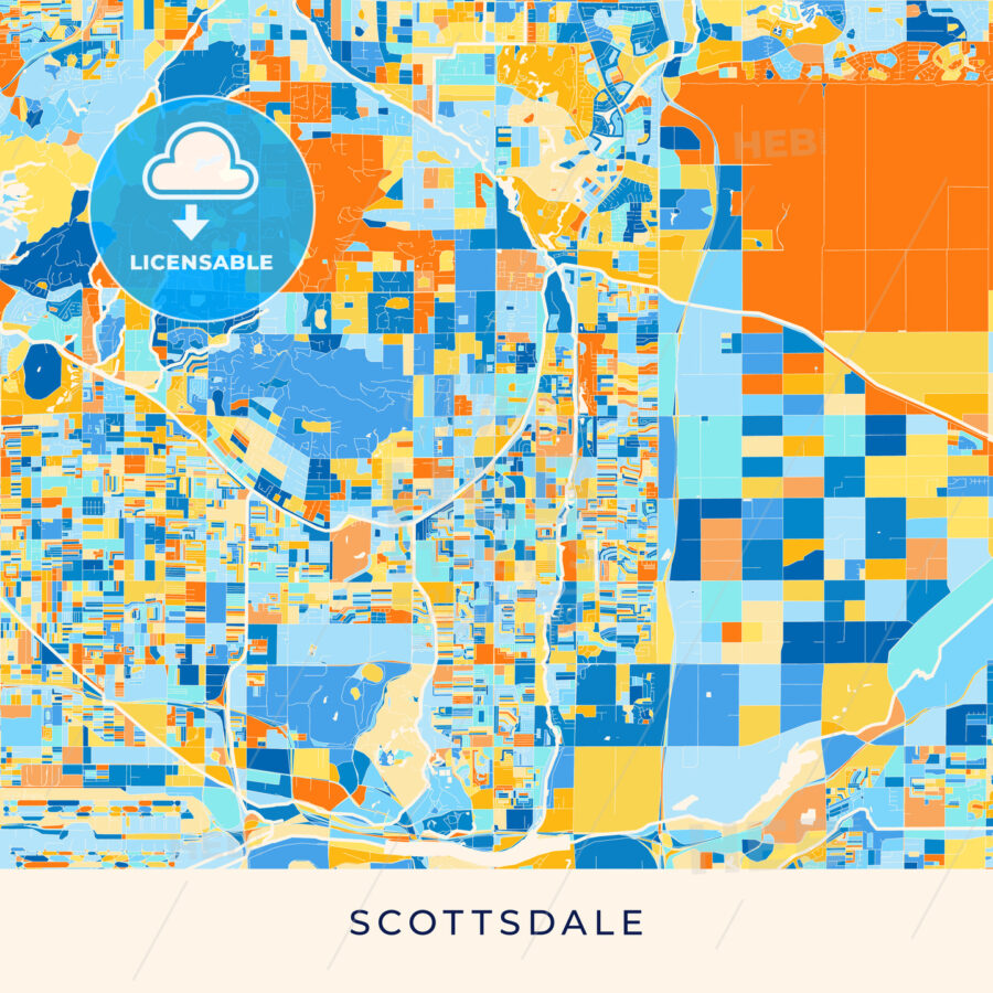 Scottsdale colorful map poster template - HEBSTREITS