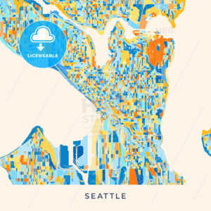 Seattle colorful map poster template - HEBSTREITS