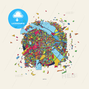 Sofia Bulgaria colorful confetti map - HEBSTREITS
