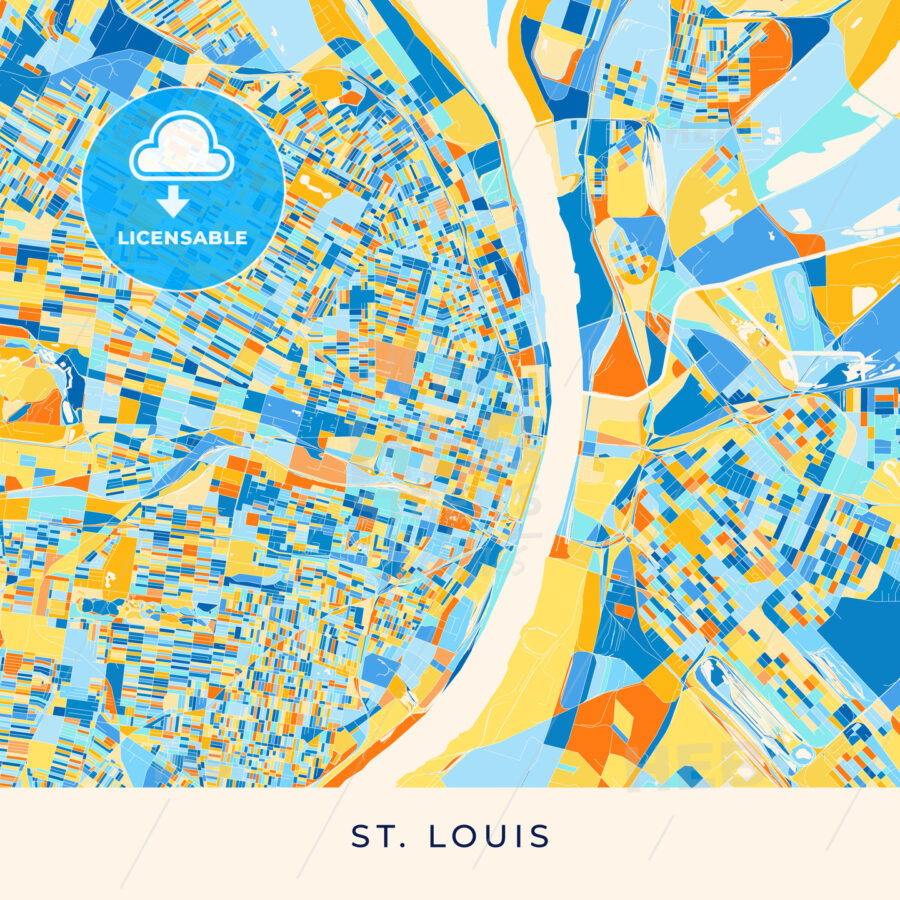 St. Louis colorful map poster template - HEBSTREITS