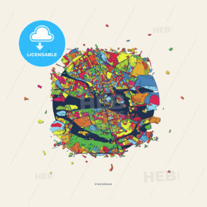 Stockholm Sweden colorful confetti map - HEBSTREITS