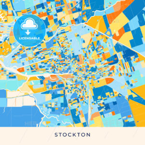 Stockton colorful map poster template - HEBSTREITS