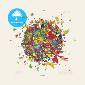 Tirana Albania colorful confetti map - HEBSTREITS