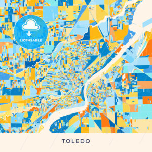 Toledo colorful map poster template - HEBSTREITS