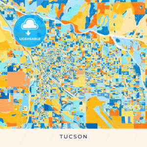 Tucson colorful map poster template - HEBSTREITS