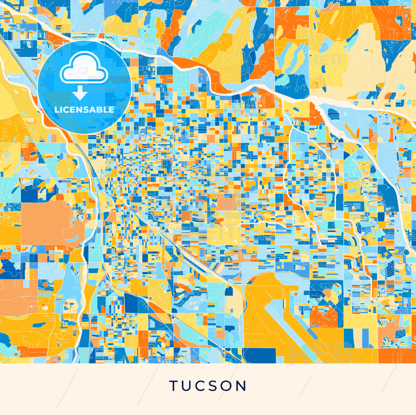 image relating to Printable Map of Tucson Az named Tucson vibrant map poster template