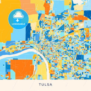 Tulsa colorful map poster template - HEBSTREITS