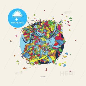 Vilnius Lithuania colorful confetti map - HEBSTREITS