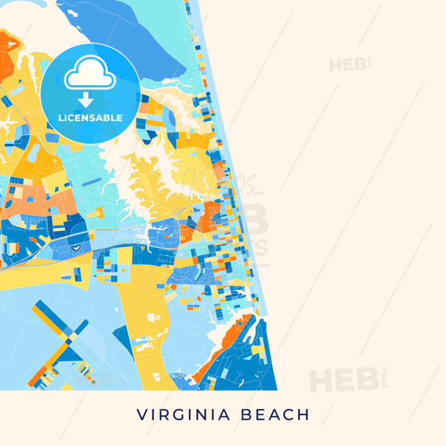 Virginia Beach Colorful Map Poster Template Hebstreits