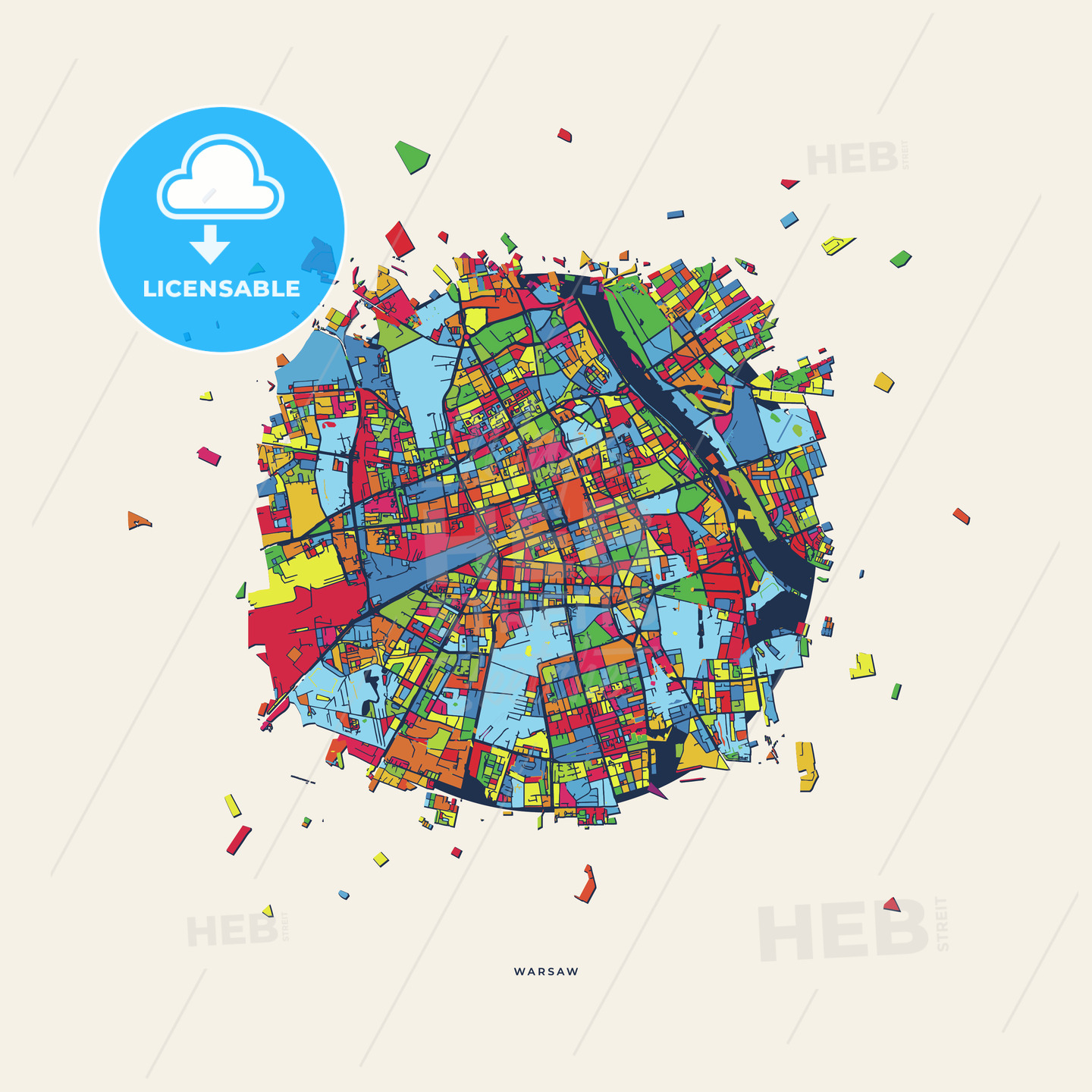 Warsaw Poland colorful confetti map | HEBSTREITS Sketches