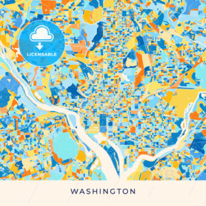 Washington colorful map poster template - HEBSTREITS