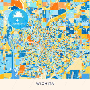 Wichita colorful map poster template - HEBSTREITS