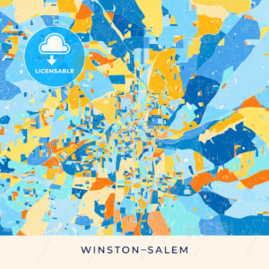 Winston–Salem colorful map poster template - HEBSTREITS