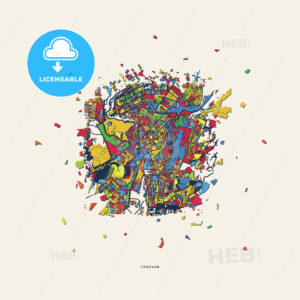 Yerevan Armenia colorful confetti map - HEBSTREITS