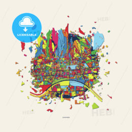 Zagreb Croatia colorful confetti map