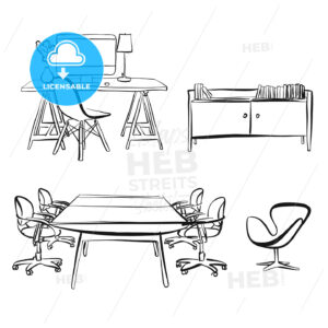 office interior objects drawing - HEBSTREITS