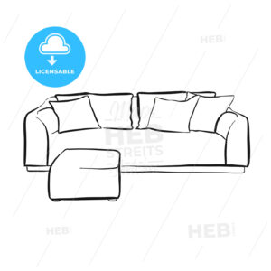 simple couch outline drawing - HEBSTREITS