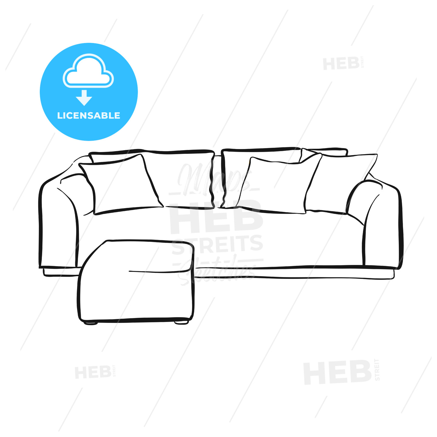 Simple couch outline drawing