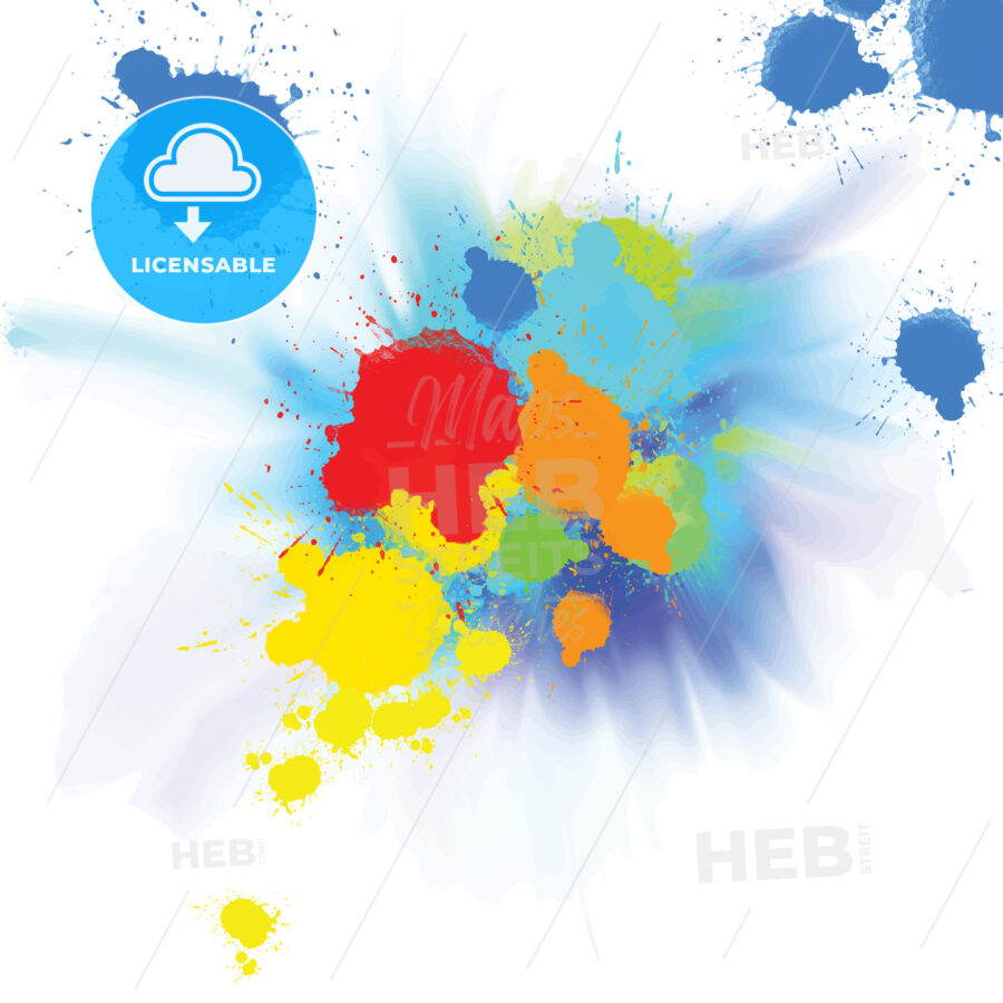 watercolor background with colorful splashes - HEBSTREITS