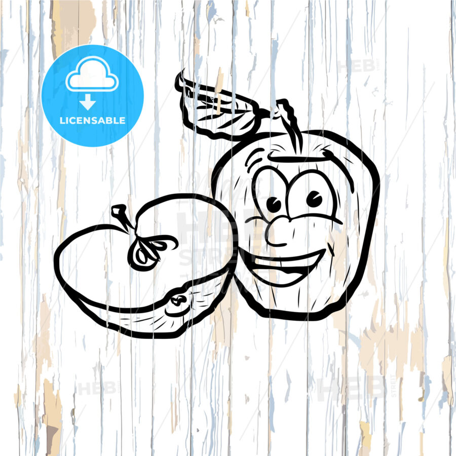 Apple icons sketches on wooden background - HEBSTREITS
