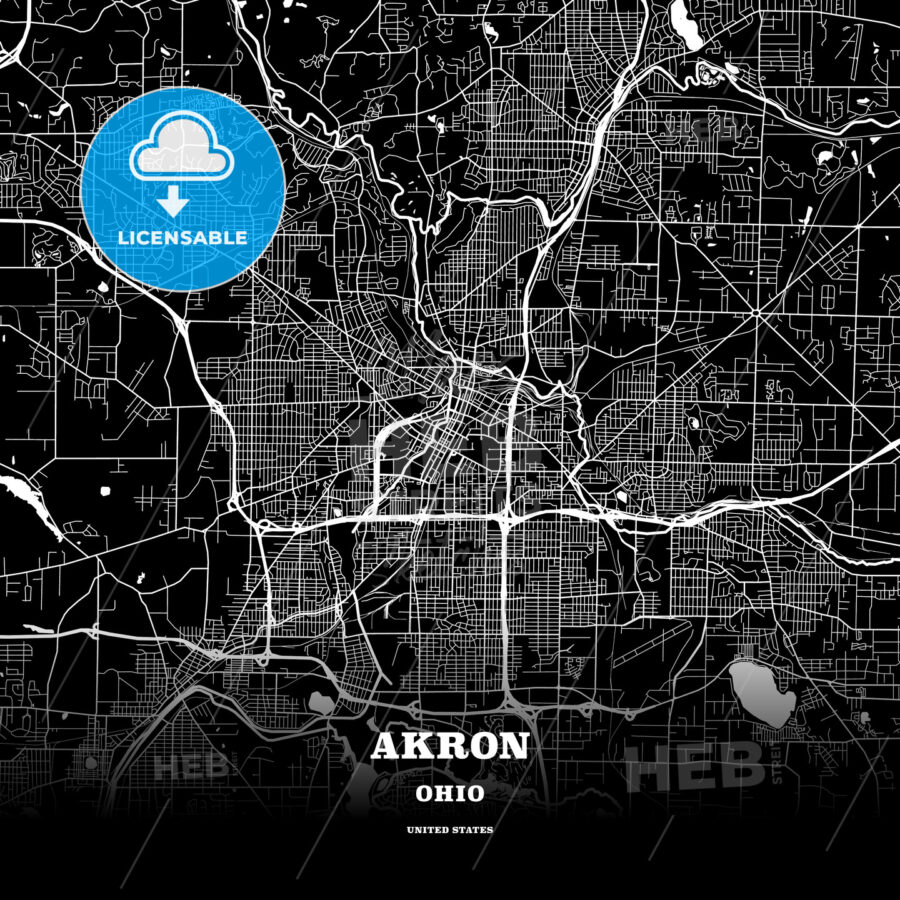 Black map poster template of Akron, Ohio - HEBSTREITS