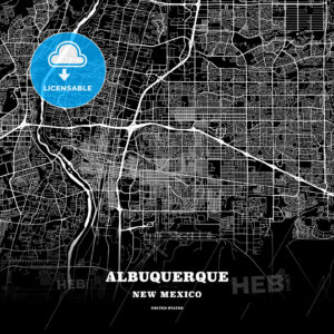 Black map poster template of Albuquerque, New Mexico - HEBSTREITS