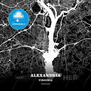 Black map poster template of Alexandria, Virginia - HEBSTREITS