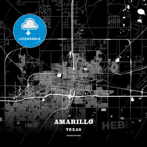 Black map poster template of Amarillo, Texas - HEBSTREITS
