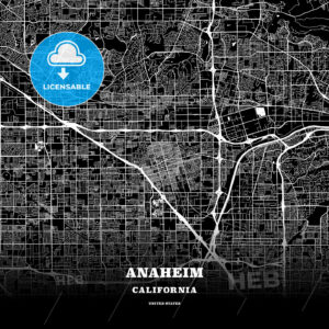 Black map poster template of Anaheim, California - HEBSTREITS