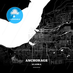 Black map poster template of Anchorage, Alaska - HEBSTREITS