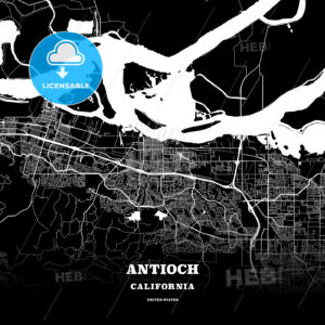 Black map poster template of Antioch, California, USA - HEBSTREITS