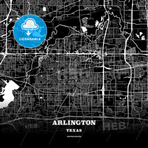 Black map poster template of Arlington, Texas - HEBSTREITS