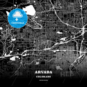 Black map poster template of Arvada, Colorado, USA - HEBSTREITS