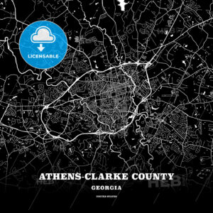 Black map poster template of Athens-Clarke County, Georgia - HEBSTREITS