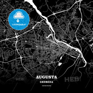 Black map poster template of Augusta, Georgia - HEBSTREITS