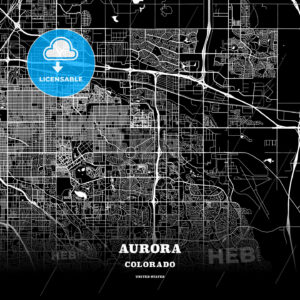 Black map poster template of Aurora, Colorado - HEBSTREITS
