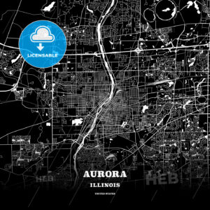 Black map poster template of Aurora, Illinois - HEBSTREITS
