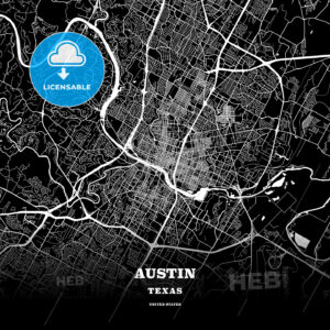 Black map poster template of Austin, Texas - HEBSTREITS