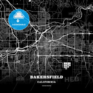 Black map poster template of Bakersfield, California - HEBSTREITS