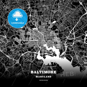 Black map poster template of Baltimore, Maryland - HEBSTREITS