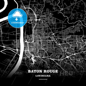 Black map poster template of Baton Rouge, Louisiana - HEBSTREITS