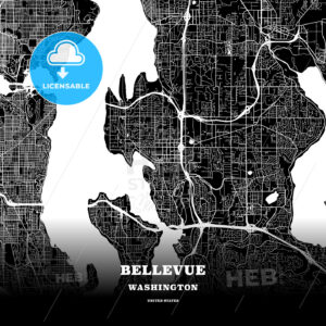Black map poster template of Bellevue, Washington, USA - HEBSTREITS