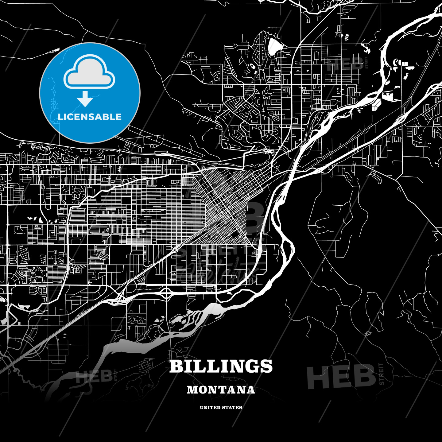 Black map poster template of Billings, Montana, USA | HEBSTREITS