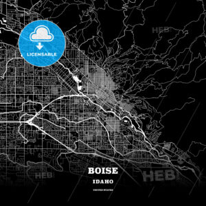 Black map poster template of Boise, Idaho - HEBSTREITS